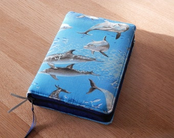 NWT 2013 Zipped Fabric Bible Cover - Dolphins