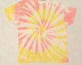 MEN S TIEDYE TShirt TieDye Fashion Shortsleeved No Tags Comfy Coral Yellow Swirl Design