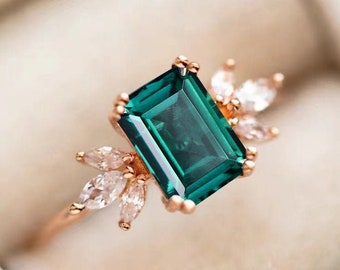 Promise Ring .birthstone Christmas Gifts Natural Emerald Ring beautiful Emerald Round  Ring,Statement Ring .925 Sterling Silver Gold Plated