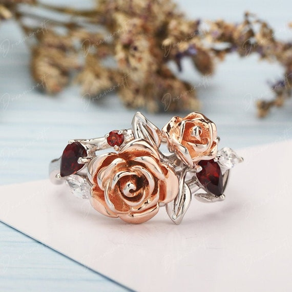 Prom Ring Romantic wedding ring Rose flower ring Pottery anniversary gifts Ceramic Flower Ring