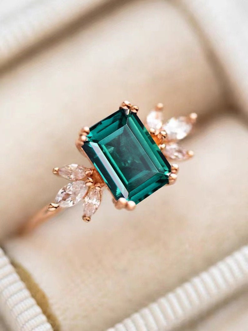 Emerald Engagement Ring 4ct Emerald Cut Solid 14K Gold image 0