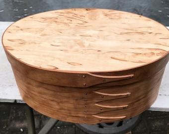 Shaker Oval Box Size # 6  Cherry and Karelian Birch