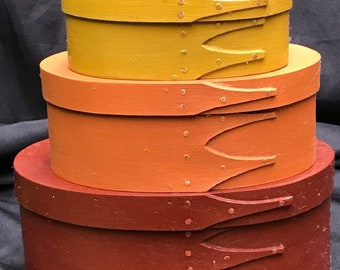 Shaker Oval Boxes  Stack of 3 Fall Milkpaint Colors