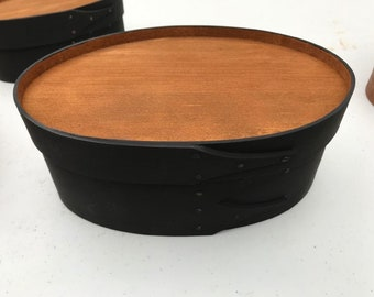 Shaker oval box size # 3 recessed top pitch black milk paint