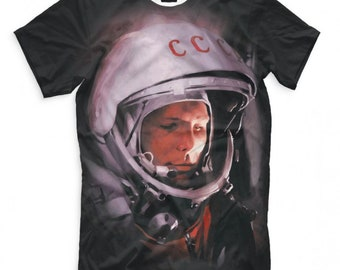 Astronaut tee  Gagarin t-shirt Space gift  Cotton Printed T-shirt With balloon