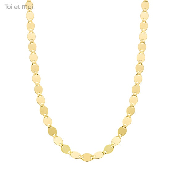 18k gold plated mariner thin chain gift for mom Valentino chain necklace short simple minimal necklace Dainty mirror link chain choker