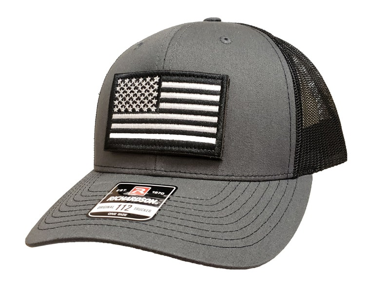 Richardson Cap  112 American Flag Patch designs  Black&White Charcoal & BlackMesh