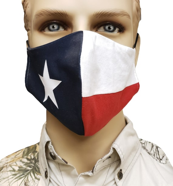 Texas Flag Mask   Handmade   100% Cotton by RockpointMarketplace
