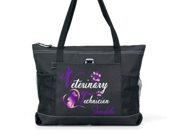 Personalized Zippered Tote Bag Vet Tech Tote Bag Veterinarian Bag Custom Tote Bag Veterinary Zippered Tote Bag