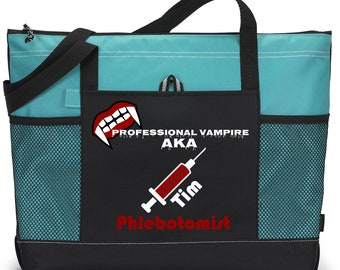 Personalized Phlebotomist Tote Bag Available in 7 colors.