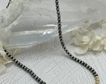 Oxidized Sterling Silver and 14K Gold Filled Beaded Necklace, Silver Necklace, Gold and Silver Jewelry