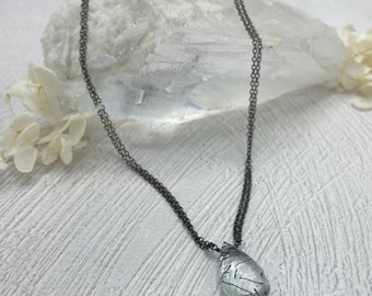 Black Tourmalinated Quartz Crystal Briolette Necklace, Oxidized Sterling Silver Necklace, Black Tourmaline Jewelry, Silver Necklace