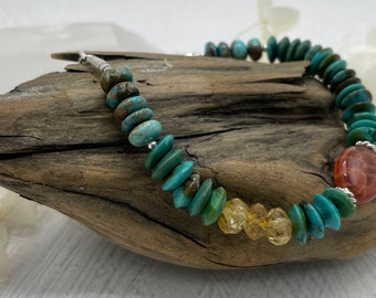 Turquoise, Citrine, Fire Agate, Sterling Silver Bracelet, Turquoise Bracelet, Boho Style Bracelet, Turquoise Rondelles, Colorful Bracelet