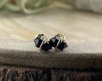 Black Onyx Stud Earrings, 14k Gold Filled, Dainty Earrings, Elegant, Root Chakra, Gemstone Earrings,  Stud Earrings, Minimalist Jewelry