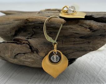 Vermeil Lotus Petal, Rainbow Moonstone Earrings, 14K Gold Filled, Lotus Flower Earrings, Artisan Earrings, Gifts For Her, Bridal Earrings