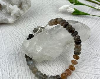 Moonstone Beaded Bracelet, Multi-Color Moonstone Gemstone Bracelet, Sterling Silver Bracelet, Moonstone Beads