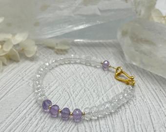 Clear Quartz Crystal, Amethyst Bracelet, 14k Gold Filled Bracelet, Gift For Her, Healing Crystal Bracelet, Amethyst Bracelet, Crown Chakra