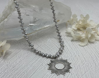 Silver Baroque Freshwater Pearl Necklace, Sterling Silver Pendant, Layering Necklace, Sunburst, Gift for Her, Silver Necklace