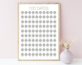 100 Dates Scratch Off Poster - Engagement Gifts, Couples Gift, Anniversary Gift for Couples, Birthday Gifts for Her, Wedding Gift