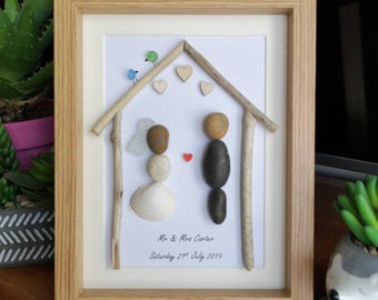 wedding pebble art. wedding gift, family newly weds, wedding present. framed wedding art