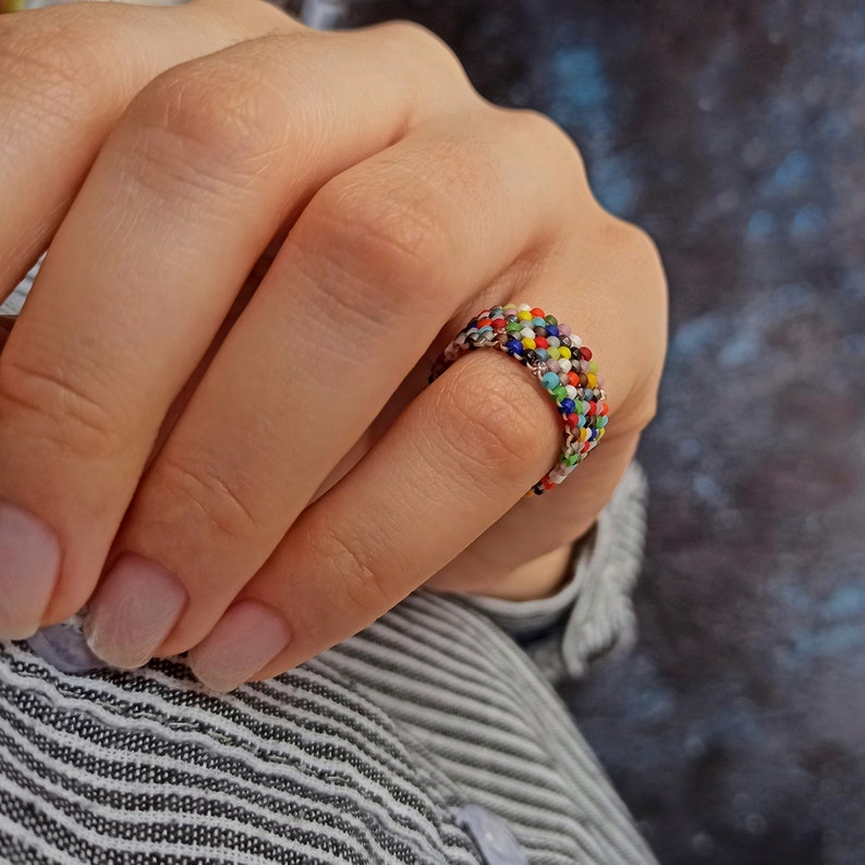 Pinky bead ring for women