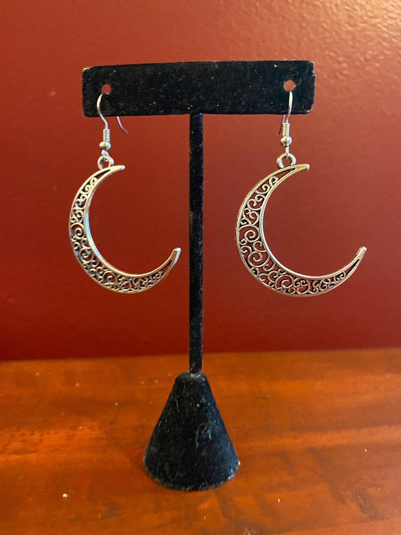 Sterling Silver Crescent Moon Dangle Earrings