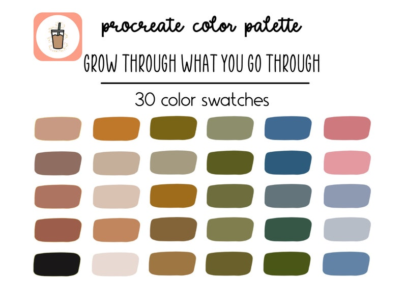 Grow Through What You Go Through Procreate Palette  Boho Procreate Color Palette  Procreate Palette  Color Swatches  iPad Procreate