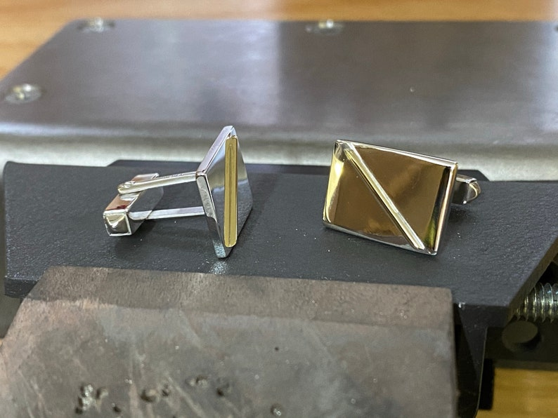 Sterling silver and 18c gold cufflinks
