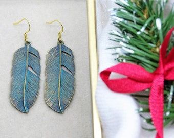 Boho style earrings Green patina feathers Perfect gift Original design BESTSELLER