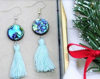 PAUA shells and aqua tassels drop earrings Perfect gift