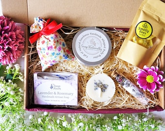 LAVENDER gift set Natural Irish Hamper Gift for her Birthday Gift Relaxation box  Pamper box Care package Self Care gift Birthday Gift