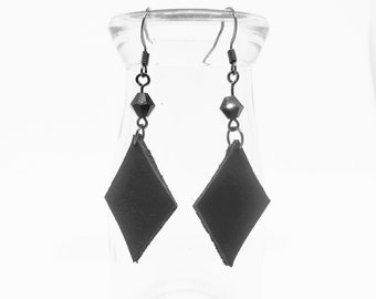 Diamond in the Rough - Gothic Earrings - Genuine Leather with Crystal Bead