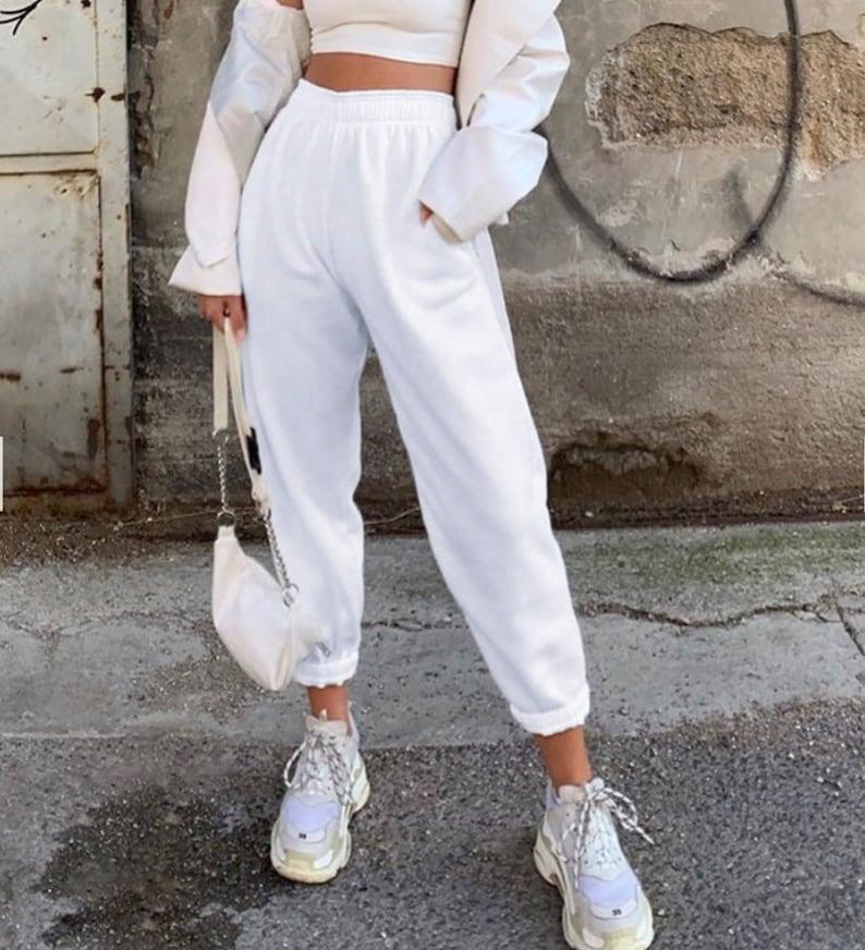 White Premium Cotton Joggers for Women