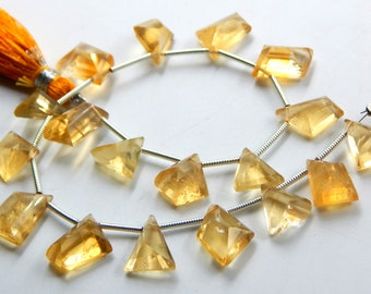 Golden Citrine Citrine Faceted Tear Drop Shape 16 Pcs Briolettes Natural Citrine 8x6-10x6 MM Faceted Citrine AAA Citrine Citrine Beads