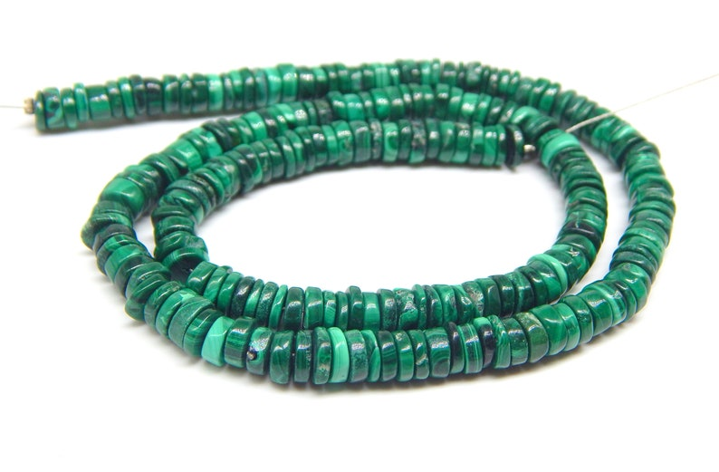 Malachite Tyre Shape Smooth Beads Size 6X5 MM 16Inches Natural Malachite Wholesale Price