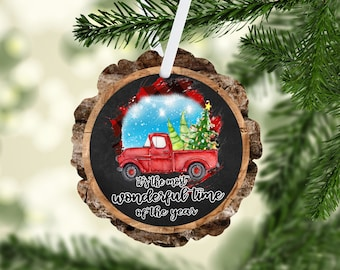 Red Truck Hand Stamped! Rustic 4 inch Wood Slice Christmas Ornament