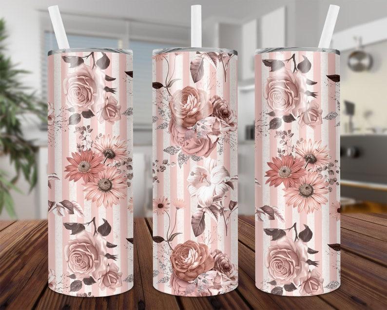 Stripe 20 oz Skinny Tumbler Sublimation Floral Pink PNG Design Download Digital Rose,Straight /& Tapered