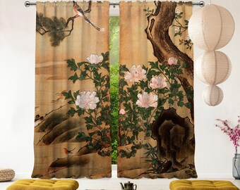 Japanese Art,Velvet look,Decorative,Window Curtain 2 panel sets,Custom size,Made to order,Window Treatment,Home Deco,Master Piece,Home Art