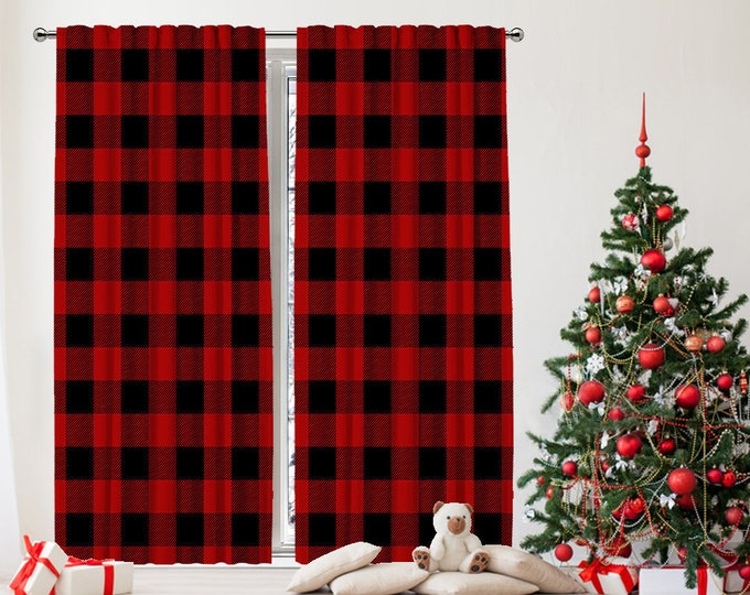 Christmas Home Decor,New Year,Noel Decoration,Window Curtain,Classic Retro Checkers,Home Decor,Custom Size,Made to order,Digital Printed