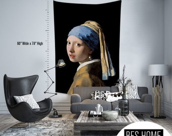 Johannes Vermeer-Girl with Pearl Earings,Fabric Wall Hanging,Tapestry,Textile Wall Hang,Wall Decoration,Master Piece Tapestry