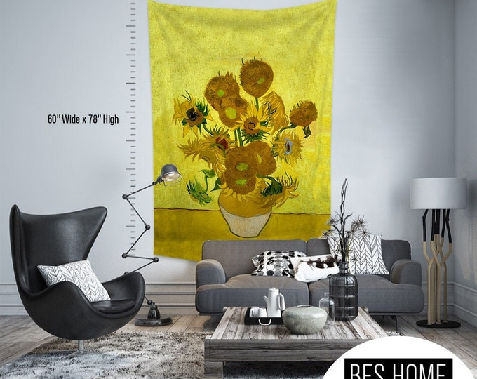 Vincent Van Gogh - Sun Flowers,Fabric Wall Hanging,Tapestry,Textile Wall Hang,Wall Decoration,Master Piece Tapestry