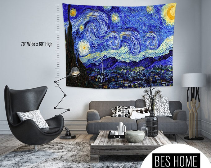Vincent Van Gogh-Starry Night,Fabric Wall Hanging,Tapestry,Textile Wall Hang,Wall Decoration,Master Piece Tapestry