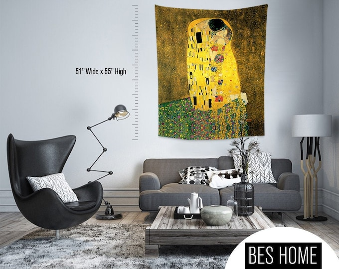 Gustav Klimt - The Kiss,Fabric Wall Hanging,Tapestry,Textile Wall Hang,Wall Decoration,Master Piece Tapestry