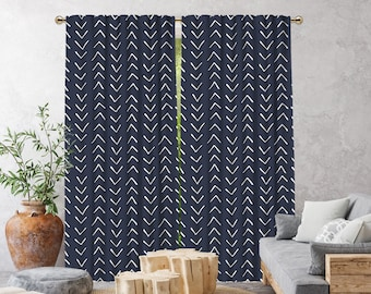 Navy Blue Boho Curtain,African Mud,Window Treatments,Blackout,Sheer,Decorative,Home Decor,Living Room,Room,Custom Size,Made to order