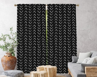 Black Boho Curtain,African Mud,Window Treatments,Blackout,Sheer,Decorative,Home Decor,Living Room,Room,Custom Size,Made to order