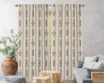 Ecru Boho Curtain,African Mud,Window Treatments,Blackout,Sheer,Decorative,Home Decor,Living Room,Room,Custom Size,Made to order,Office Deco