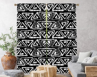 Black Boho Curtain,African Mud,Window Treatments,Blackout,Sheer,Decorative,Home Decor,Living Room,Room,Custom Size,Made to order,Office Deco