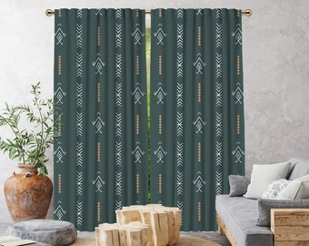 Dark Mint  Boho Curtain,African Mud,Window Treatments,Blackout,Sheer,Decorative,Home Decor,Living Room,Room,Custom Size,Made to order