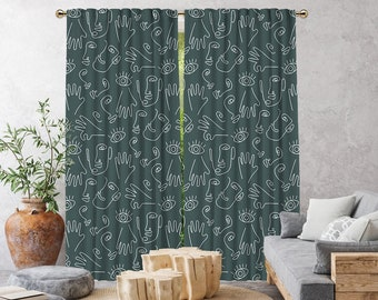 Dark Mint Boho Curtain,African Mud,Window Treatments,Blackout,Sheer,Decorative,Home Decor,Living Room,Room,Custom Size,Made to order,Office