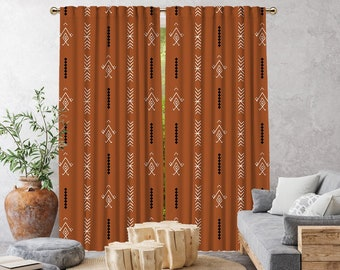 Brick Boho Curtain,African Mud,Window Treatments,Blackout,Sheer,Decorative,Home Decor,Living Room,Room,Custom Size,Made to order,Office Deco